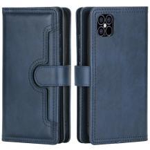 OEMMultiple Card Slots Äkta Läder Plånboksfodral iPhone 12 | 12 Pro - Blå