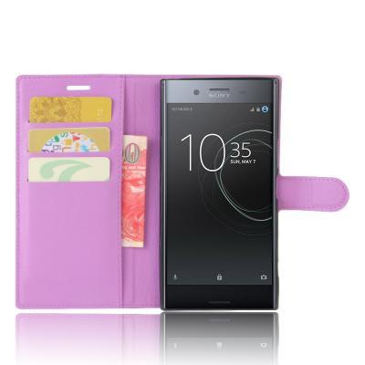 Litchi Plånboksfodral Sony Xperia XZ Premium - Lila
