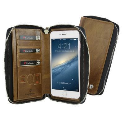 Pierre Cardin plånboksfodral av läder till iPhone 6/6S - Brun