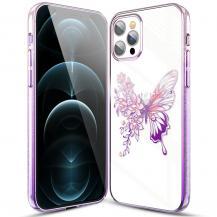 KINGXBARKingxbar Butterfly Shiny Mobilskal iPhone 12 / 12 Pro - Rosa