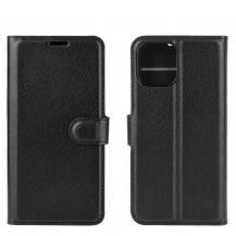 OEMLitchi Läder Plånboksfodral iPhone 12 Mini - Svart