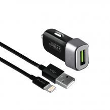 PuroPuro - Billaddare 12W 1USB-A m/Lightning kabel - Svart