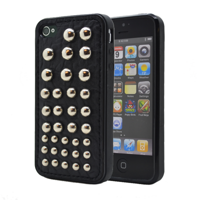 Studded leather pattern FlexiSkal till Apple iPhone 4S/4 (Dots)