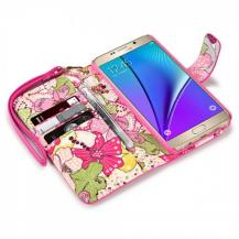 A-One BrandFloral Interior Plånboksfodral till Samsung Galaxy Note 5 - Magenta