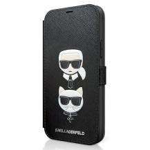 KARL LAGERFELDKarl Lagerfeld Plånboksfodral iPhone 12 Mini Saffiano Karl & Choupette - Svart
