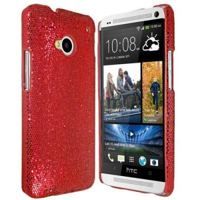 Glitterskal till HTC One (M7) (Röd)