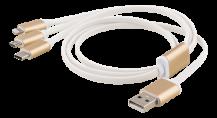 EpziEPZI Multiladdare, USB-C, Lightning, Micro USB, USB-A, 1m, vit