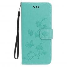 OEMImprint Läder Plånboksfodral iPhone 12 & 12 Pro - Cyan
