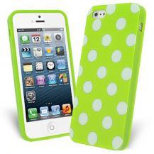 A-One BrandFlexiCase Skal till Apple iPhone 5/5S/SE - Polkadots (Grön)