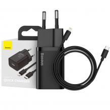 BASEUSBASEUS - Super Si Network Charger 20W + Lightning Cable - Svart