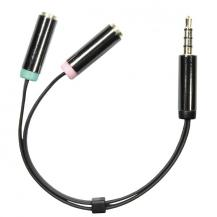 DeltacoDELTACO, 3,5mm hane till 3,5mm mikrofon och stereo hona, 0,1m, svart