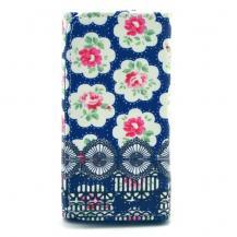 Universalt plånboksfodral - Blommor blå