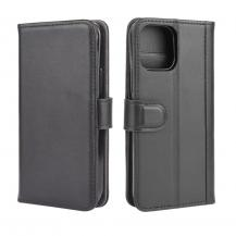 Äkta Läder Plånboksfodral iPhone 12 Pro Max - Svart