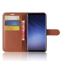 A-One BrandLitchi Plånboksfodral till Samsung Galaxy S9 - Brun