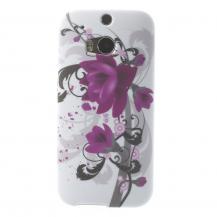 OEMFlexiSkal till HTC One M8 - Lila Blommor