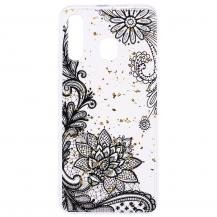 OEMGlitter Mobilskal till Samsung Galaxy A50 - Black Lace