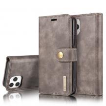 DG.MINGDG.MING Äkta Läder Plånboksfodral iPhone 13 Pro Max - Grå