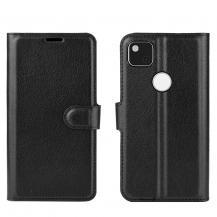 OEMLitchi Leather plånboksfodral till Google Pixel 4A - Svart