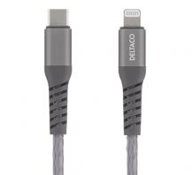 DeltacoDELTACO USB-C till Lightning kabel, 1m, PD, tygbeklädd, USB 2.0