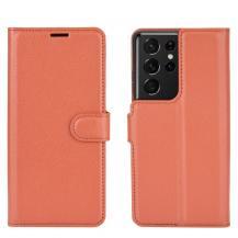 A-One BrandLitchi Plånboksfodral till Samsung Galaxy S21 Ultra - Brun