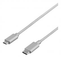 DeltacoDELTACO PRIME USB 2.0 kabel, tygklädd, USB Typ C - USB Typ Micro, 1m, silver