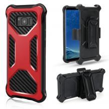 OEM2-in-1 mobilskal med bältesfodral till Galaxy S8 Plus - Röd