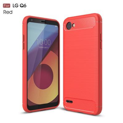 Carbon Brushed Mobilskal till LG Q6 - Röd