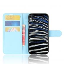 A-One BrandLitchi Plånboksfodral till iPhone XS / X - Blå