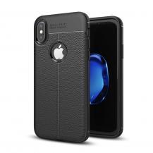 A-One BrandLitchi Skin TPU Mobilskal till iPhone XS / X - Svart