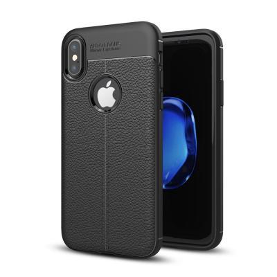 Litchi Skin TPU Mobilskal till iPhone XS / X - Svart