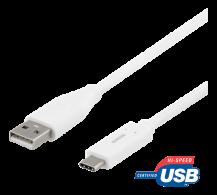 DeltacoDELTACO USB-C till USB-A kabel, 1m, USB 2.0, vit