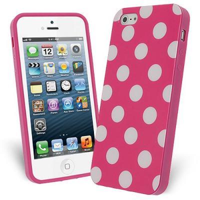 FlexiCase Skal till Apple iPhone 5/5S/SE - Polkadots (Hot Pink)