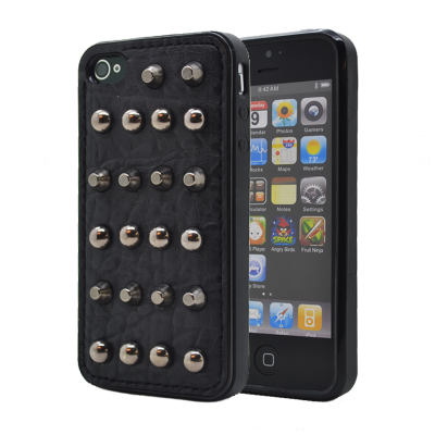Studded leather pattern FlexiSkal till Apple iPhone 4S/4 (Point Dots)