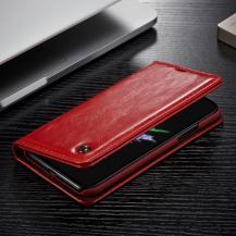 A-One BrandCaseme Oil Wax Plånboksfodral till Apple iPhone X - Röd