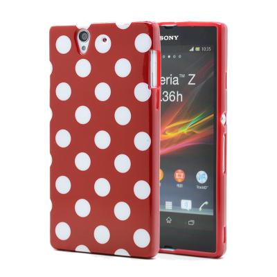 Polka dot FlexiCase Skal till Sony Xperia Z (Röd)