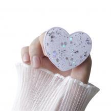 A-One BrandHeart Glitter Mobilhållare / Mobilgrepp - Vit