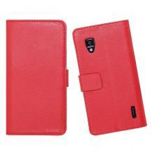 A-One BrandEmbossed Plånboksväska till LG Optimus L7 (Röd)