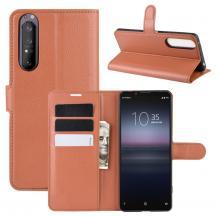 ImakLitchi Läder plånboksfodral Sony Xperia 1 II - Brun
