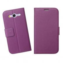 A-One BrandEmbossed Plånboksfodral till Samsung Galaxy Mega 5.8 i9150 (Lila)