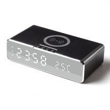 A-One BrandVäckarklocka med inbyggd Trådlös Laddare och Termometer