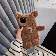 OEMFluffy Furry Teddy Bear Skal iPhone 7/8/SE 2020 - Mörk Brun