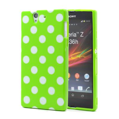 Polka dot FlexiCase Skal till Sony Xperia Z (Grön)