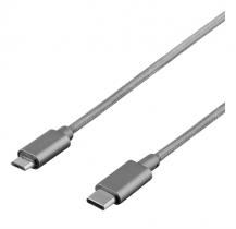DeltacoDELTACO PRIME USB 2.0 kabel, tygklädd, USB Typ C - USB Typ Micro, 1m, grå