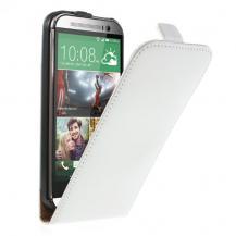A-One BrandÄkta Läder Flip fodral till HTC One M8 (2014) - Vit