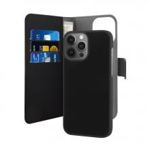 PuroPuro EcoLeather Avtagbart Plånboksfodral iPhone 13 Pro Max - Svart