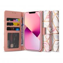 Tech-ProtectMarble Plånboksfodral iPhone 13 Pro Max - Rosa