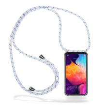 CoveredGear-NecklaceCoveredGear Necklace Case Samsung Galaxy A50 - White Stripes Cord