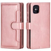 OEMMultiple Card Slots Äkta Läder Plånboksfodral iPhone 12 Pro Max - Rose Gold