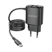DudaoDudao 2x USB Väggladdare med built-in micro USB 12 W Kabel Svart