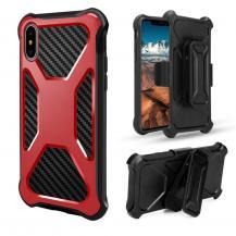 OEMCarbon Fiber Texture 2-in-1 mobilskal med bältesfodral iPhone XS / X - Röd
